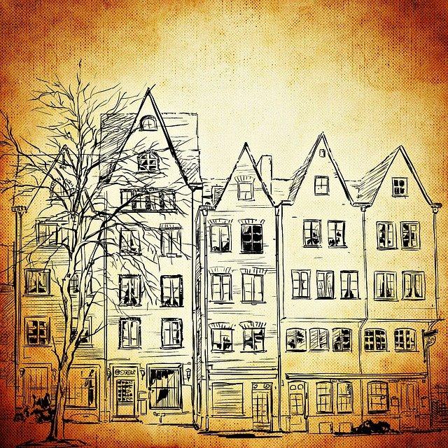 Dessin de hautes maisons accolées.