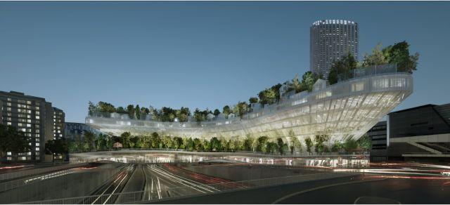 """Concept urbain proposé dans le cadre du projet réinventer Paris nommé """"milles arbres"""""""