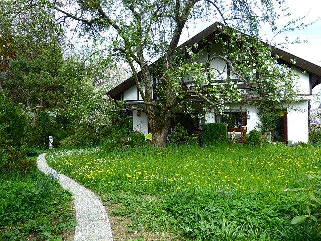 Maison isolée dans la verdure.