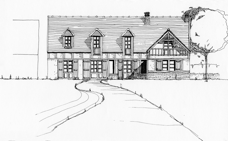 Croquis habitation rurale avec chemin