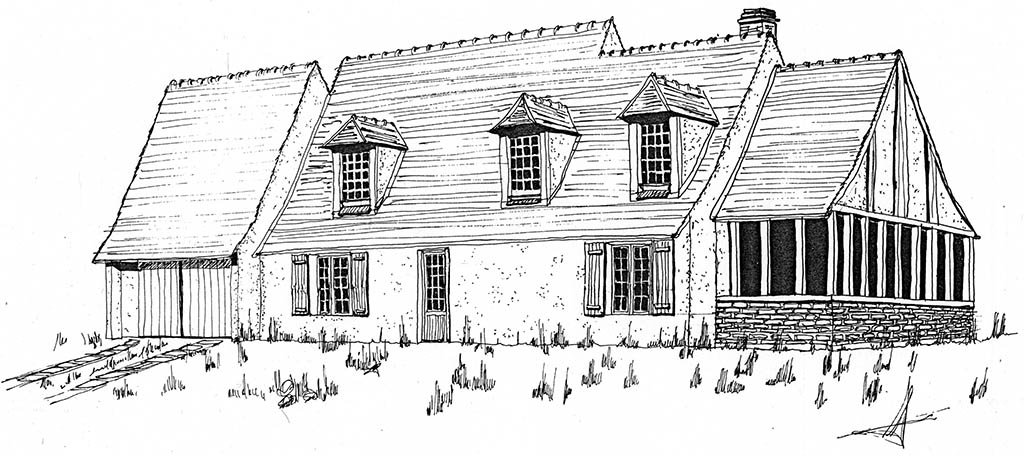 Croquis habitation rurale avec garage