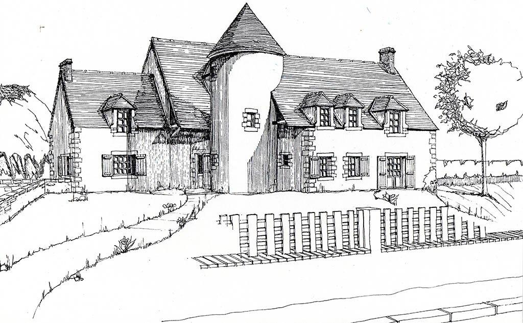 Croquis rénovation vieille bâtisse rurale