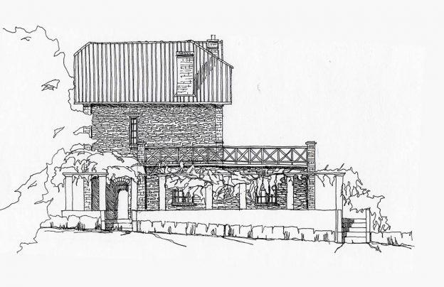Croquis maison rurale avec terrasse couverte