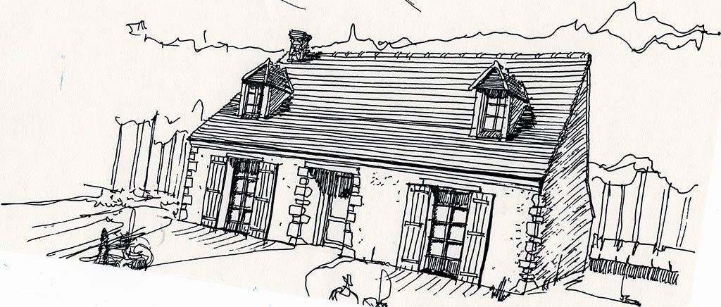 Croquis rénovation petite maison de campagne
