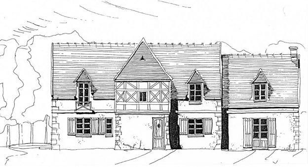 Croquis rénovation maison familiale en milieu rural