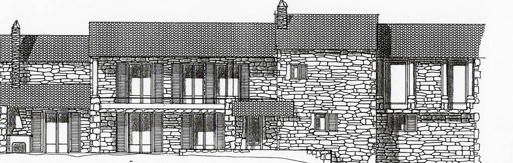Croquis rénovation grande maison dans village
