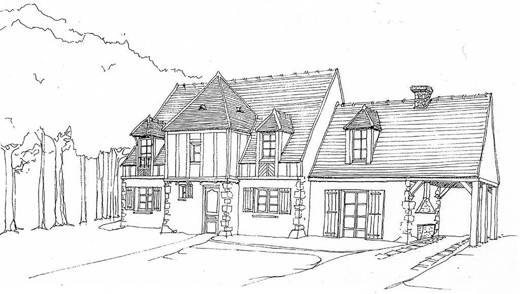 Croquis rénovation maison de campagne proche forêt