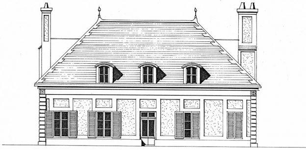 Croquis grande maison noble avec 2 cheminées