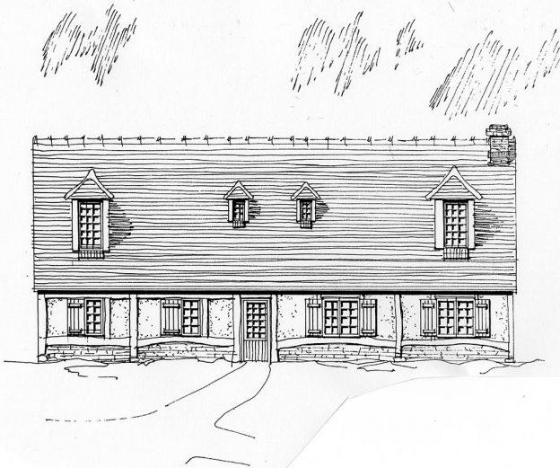 Croquis maison en milieu rural