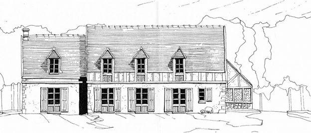 Croquis grande maison de campagne en pierre