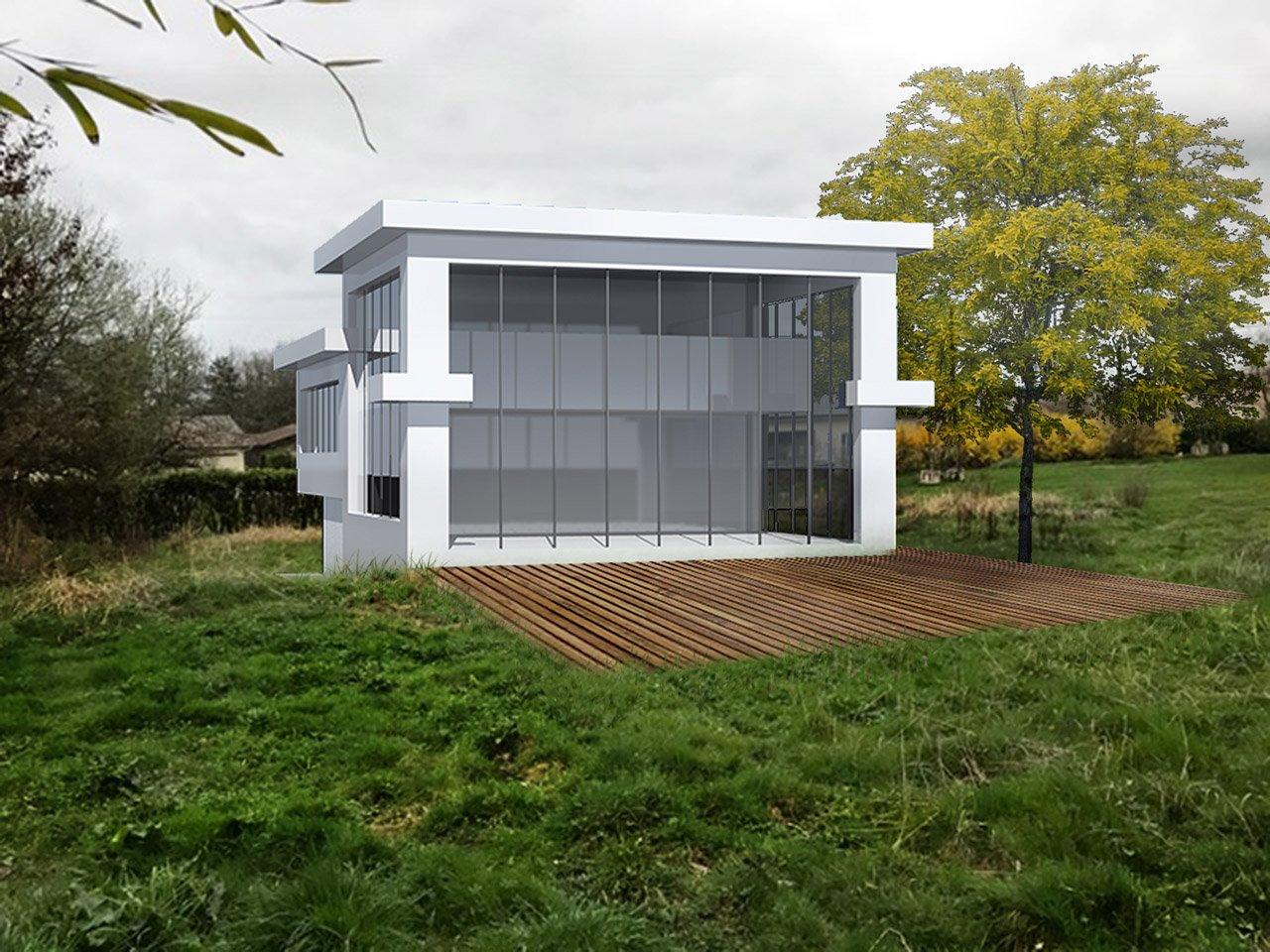 Maison habitable terrain forte pente région parisienne - Côté arrière