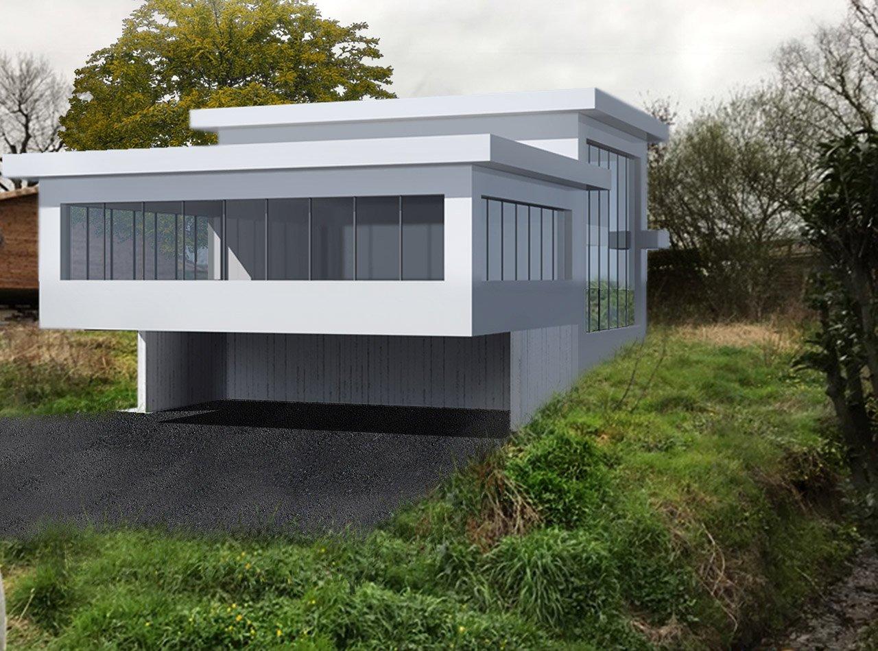 Maison habitable terrain forte pente région parisienne - Côté avant