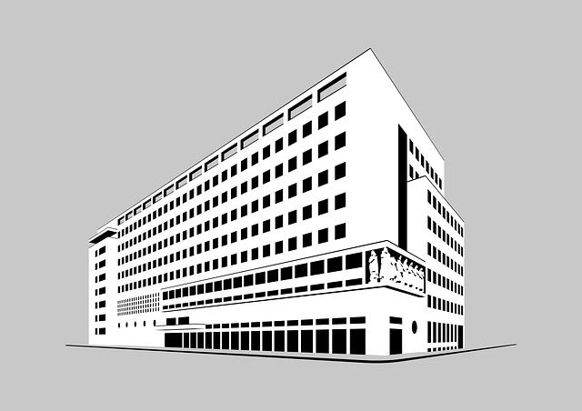 Plans 3 D d'un bâtiment.